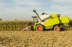 Corn harvest with a combine harvester Royalty Free Stock Photos