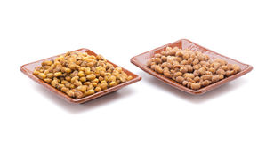 Corn and hazelnuts Stock Photos