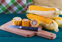 Corn heads of cabbage on an Stock Photo