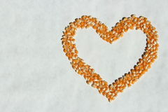 Corn Heart Outline. Popcorn shaped in the outline of a heart on isolated background stock image