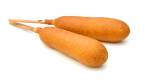 Corn Hot Dogs. On white Stock Photography