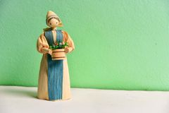 Corn Husk Doll  on Green Background Stock Photos