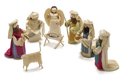 Corn husk nativity scene with three wise kings. Traditional christmas decoration with handmade corn husk figures royalty free stock photography