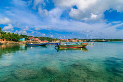 Corn island Nicaragua. sea with boats and blue sky. Corn Island, Nicaragua on April 21, 2016 view of corn island Nicaragua. sea with boats and blue sky royalty free stock photo