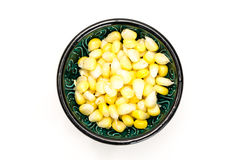 Corn kernels in a bowl, on white Royalty Free Stock Photography