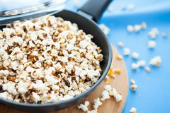 Corn kernels in a frying pan Stock Images