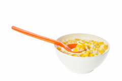 Corn kernels in white bowl Stock Photography