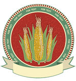 Corn label.Vector retro image Royalty Free Stock Photography