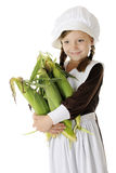 Corn-Loving Pilgrim Girl Stock Photo