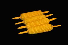 Corn maize. Boiled sweet corn with holders,magic wand default 32 to remove background Royalty Free Stock Photos