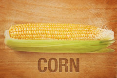 Corn Maize Cob on wooden background Stock Image