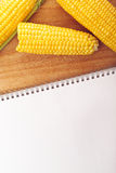 Corn Maize Cobs and Recipe Book Royalty Free Stock Images