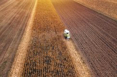 Corn maize harvest, aerial view of combine harvester Royalty Free Stock Photography