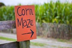 Corn maze sign stock photo