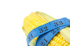 Corn measured the meter, sports corn, concept weight loss Royalty Free Stock Image