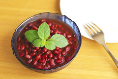 Corn mint  on the red bean Stock Photography