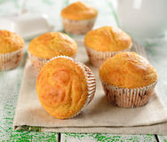 Corn muffins. On a white table Royalty Free Stock Image