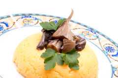 Corn Mush With Mushrooms Stock Photo