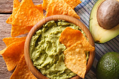 Corn nachos and guacamole sauce close-up. horizontal top view Stock Photo