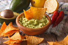 Corn nachos and guacamole sauce and ingredients close-up. Horizontal Stock Images
