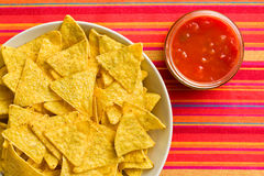 Corn nachos with tomato dip Stock Image