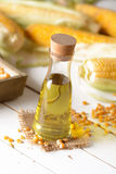 Corn oil in the bottle Stock Photo