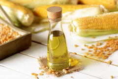 Corn oil in the bottle Stock Images