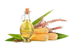 Corn oil with cobs Royalty Free Stock Images