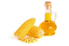 Corn oil in decanter, fresh corn cobs and grains isolated on white background.  Royalty Free Stock Photography