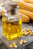 Corn oil. In small bottle Stock Photos