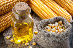 Corn oil. In small bottle Royalty Free Stock Photography