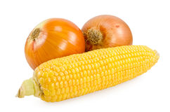 Corn and onions Royalty Free Stock Photos