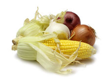 Corn and Onions Stock Images