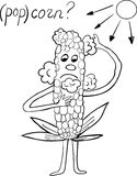 Corn overheating in the sun comic illustration Stock Photo