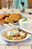 Corn, Pea and Turkey Patties Stock Photo