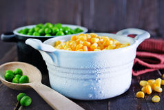 Corn and peas. Sweet corn and green peas in bowl Stock Photography