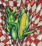 Corn Picnic Illustration. A Picnic of sweet proportions. One illustration in a series of fresh foods on a blanket background. This one depicts three corn cobs in stock illustration