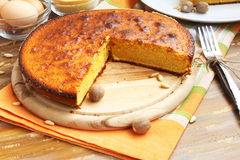 Corn Pie. Sweet pie with corn flour placed on wood, delicious dessert stock photos