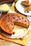 Corn Pie. Sweet pie with corn flour placed on wood, delicious dessert royalty free stock photography