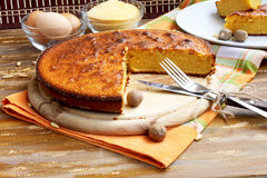 Corn Pie. Sweet pie with corn flour placed on wood, delicious dessert stock images
