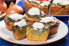 Corn pone with spinach and cream Royalty Free Stock Photos