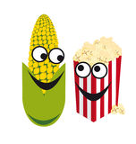 Cartoon character corn. Corn and popcorn forms a perfect duo. Funny vector illustration. Cheerful corn bucket of popcorn. White background with corn Stock Image