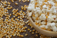 Corn popcorn raw cooked bowl mix seed tray concept Stock Photos