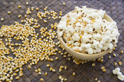 Corn popcorn raw cooked bowl mix seed tray concept Stock Photography