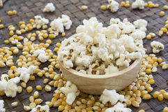 Corn popcorn raw cooked bowl mix seed tray concept Royalty Free Stock Photo