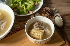 Corn and pork bone soup, delicious Chinese food stock image