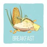 Corn porridge breakfast card - gluten free breafast concept Stock Photography