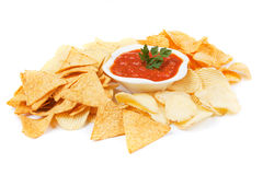 Corn and potato chips isolated on white Royalty Free Stock Image