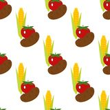 Corn, potato and tomato vector seamless pattern background illustration. Harvest time yield crop.  Royalty Free Stock Photos