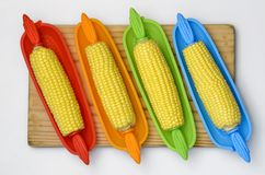 Corn on Prep Board Top 03 Stock Images